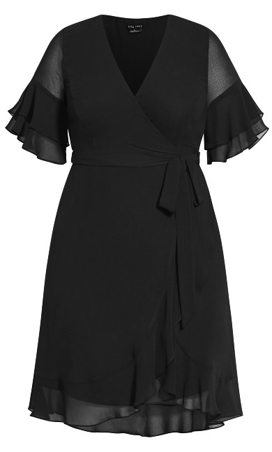 Flutter Frill Dress - black