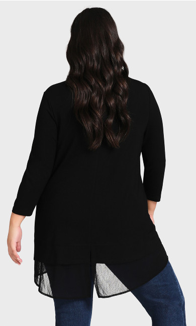 Contrast Plain Tunic - black