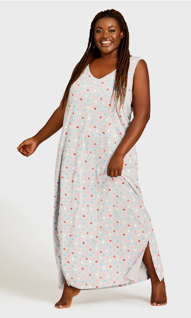 Plus Size Print Maxi Sleep Dress - gray