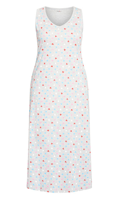Print Maxi Sleep Dress - gray