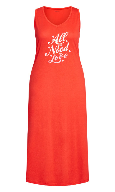Print Maxi Sleep Dress - red