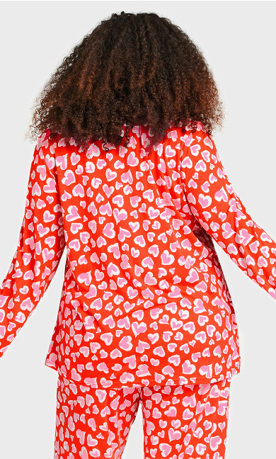 Button Heart Sleep Top - red heart