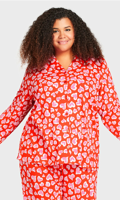 Plus Size Button Heart Sleep Top - red heart