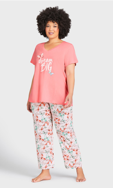 Plus Size Print Sleep Top - pink