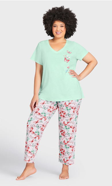 Plus Size Blushing Sleep Pant - pink butterfly