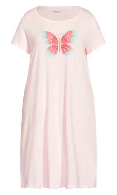 Short Sleeve Print Sleep Shirt - pink
