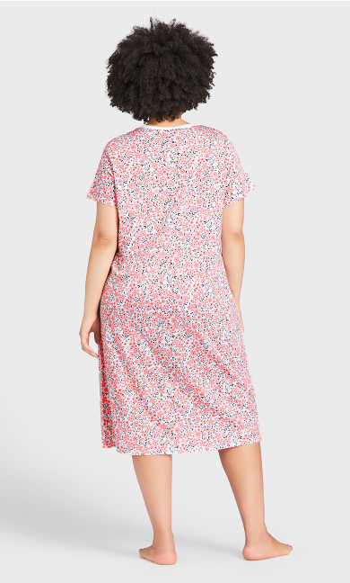 Short Sleeve Print Sleep Shirt - pink ditsy