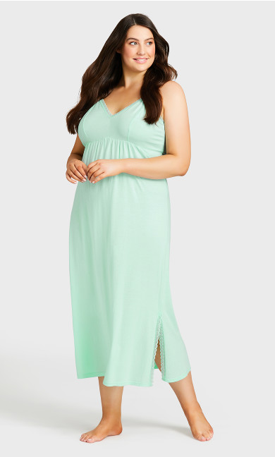 Lace Trim Maxi Sleep Dress - mint