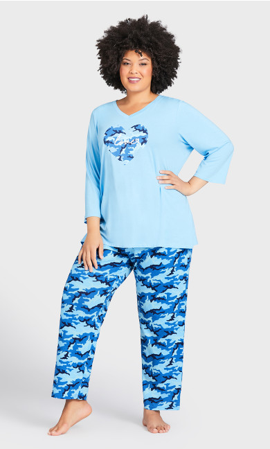 Plus Size Nature Print Sleep Pant - blue camo