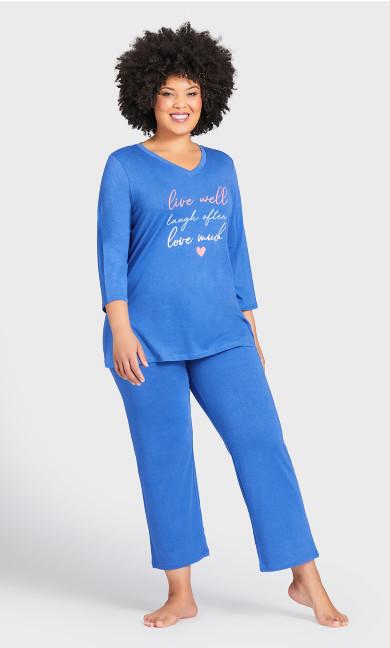Plus Size Love Laugh Sleep Top - blue