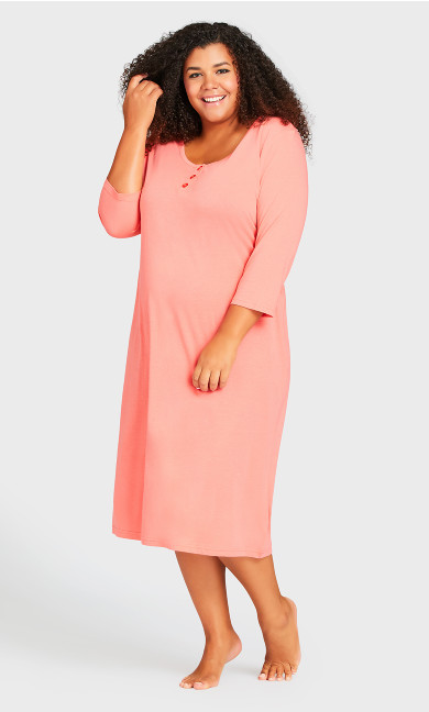 Plus Size Placket Sleep Shirt - peach