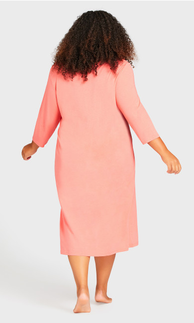 Placket Sleep Shirt - peach