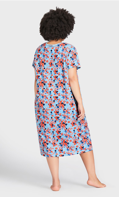 Floral Short Sleeve Sleep Shirt - blue floral