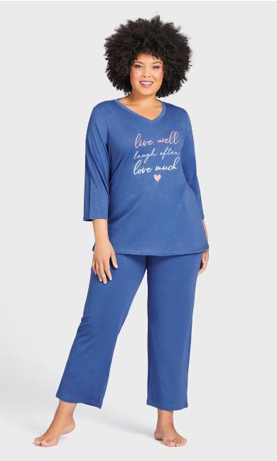 Plus Size Plain Sleep Pant - cobalt