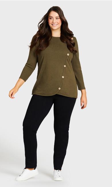 Plus Size Knit Pull On Jean Black - tall