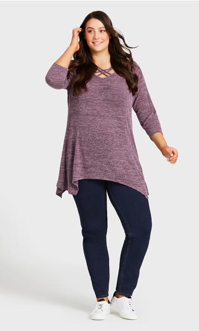 Plus Size Knit Pull On Jean Dark Wash - tall