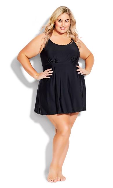 Plus Size Empire Swim Dress - black