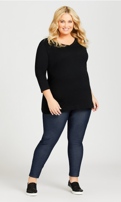 Plus Size Legging Knitted Mid Wash - average