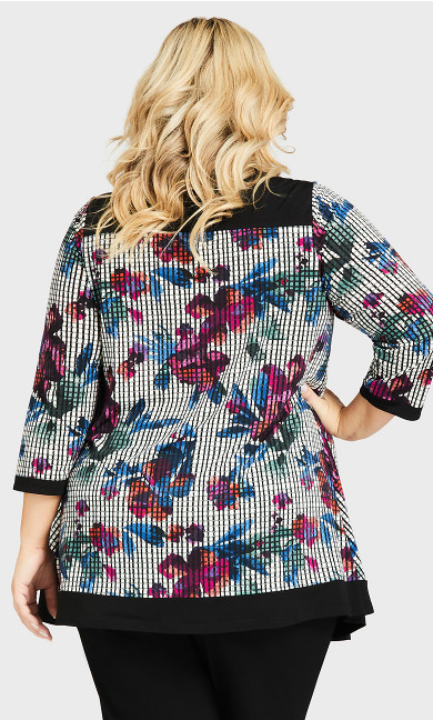 Water Check Tunic - floral print
