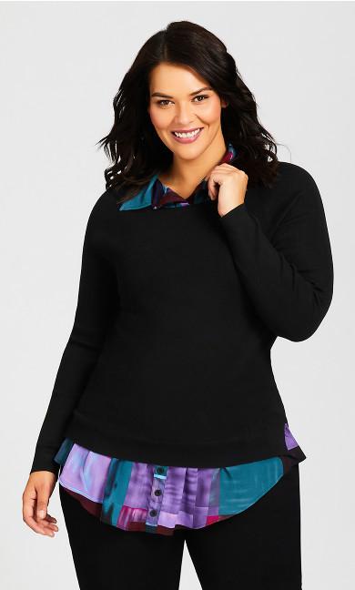 Plus Size Collar Duet Sweater - black