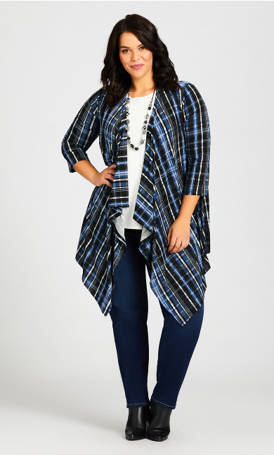 Plus Size Shadow Lane Cardi - blue plaid