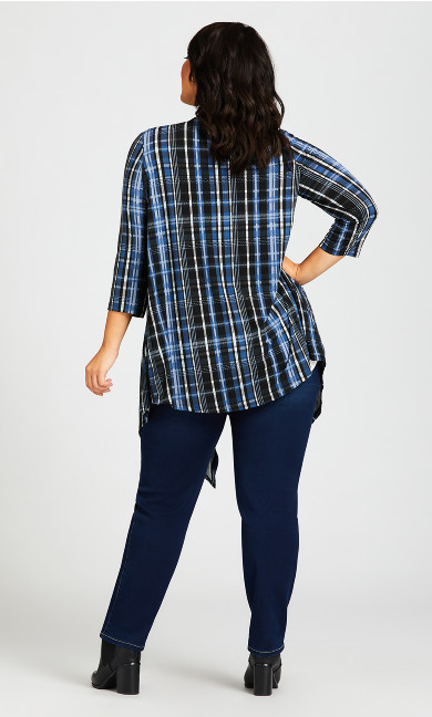 Shadow Lane Cardigan - blue plaid
