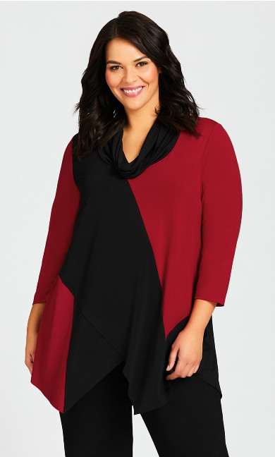 Plus Size Hampsted Tunic - black red