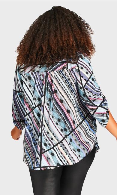 Eastbrook Print Top - multi geo stripe