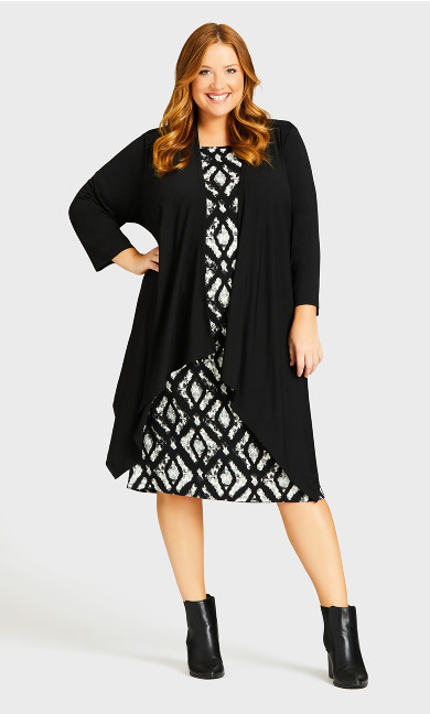 Plus Size Paige Duet Dress - black ikat