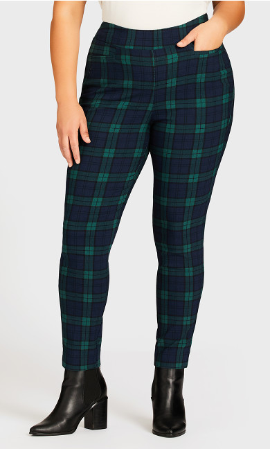 Super Stretch Plaid Pant Navy - average