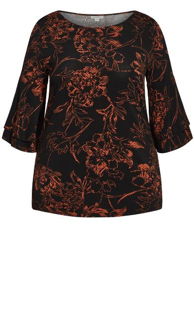 Bellview Print Top - rust floral