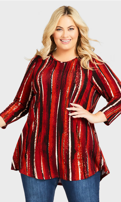 Plus Size Bays Water Tunic - spice stripe