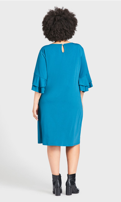 Double Bell Sleeve Dress - teal