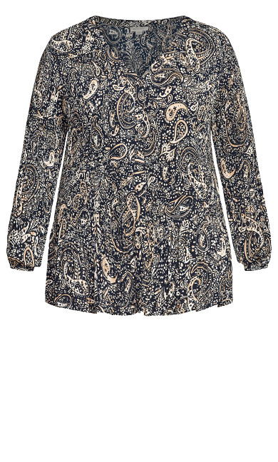 Piper Print Top - navy paisley