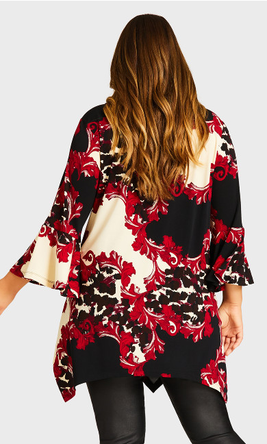 Scroll Necklace Tunic - red print