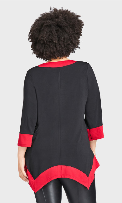 Color Block Tunic - red