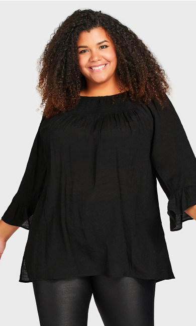 Plus Size Flutter 3/4 Sleeve Top - black