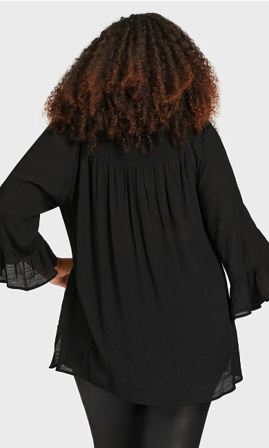 Flutter 3/4 Sleeve Top - black