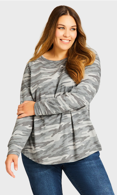 Camo Long Sleeve Tee - gray
