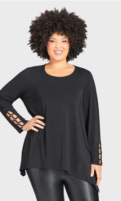 Plus Size Stud Caged Sleeve Top - black