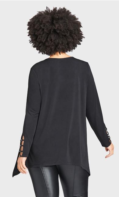 Stud Caged Sleeve Top - black