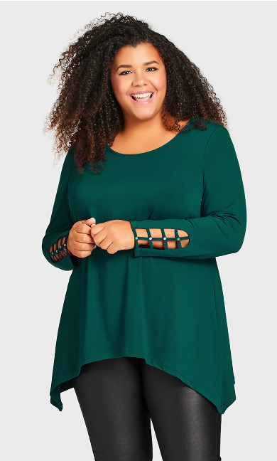 Stud Caged Sleeve Top - ivy