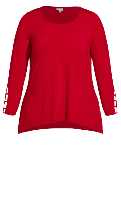 Stud Caged Sleeve Top - ruby