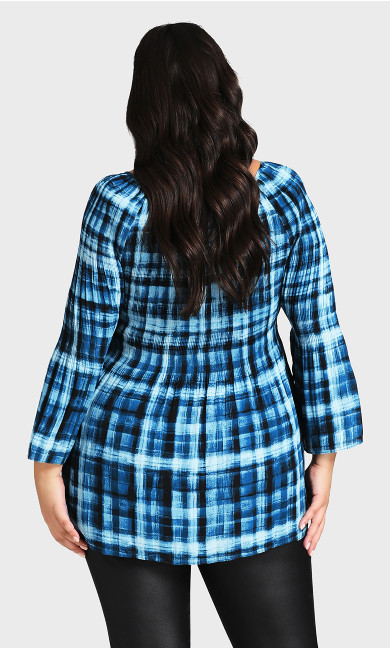 Lola Pleat Top - blue check