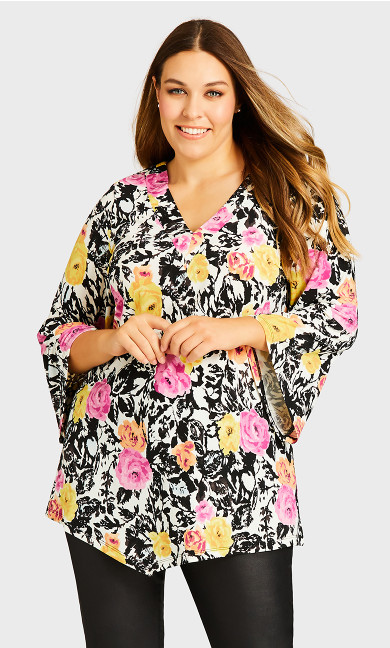 Plus Size Camden Walk Tunic - white floral