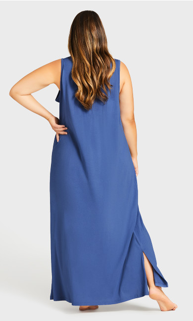 Print Maxi Sleep Dress - navy