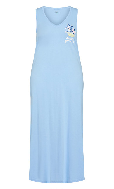 Print Maxi Sleep Dress - blue