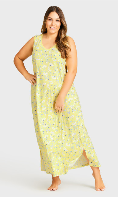 Print Maxi Sleep Dress - yellow