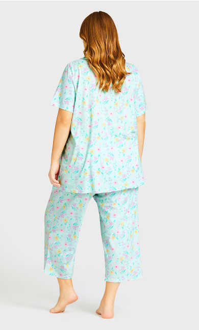 Tie Waist Print Sleep Pant - mint floral