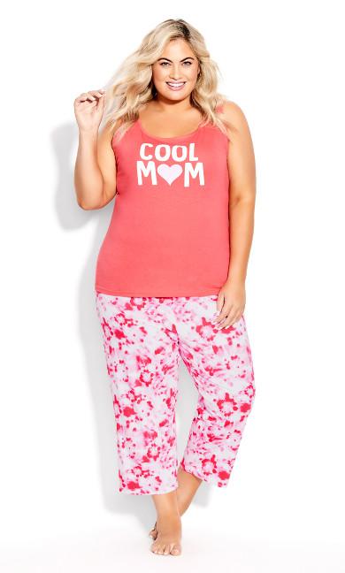 Plus Size Print Sleep Pant - pink tie dye